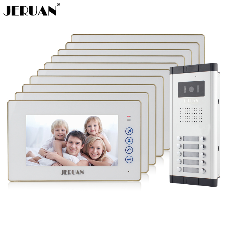 JERUAN Apartment Doorbell intercom 7`` Touch key Video Door Phone Intercom System 10 White Monitor 1 HD Camera for 10 Household my apartment