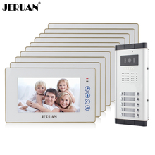 "JERUAN Apartment Doorbell intercom 7"" Touch key Video Door Phone Intercom System 10 White Monitor 1 HD Camera for 10 Household"