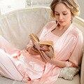 Manera de la alta calidad atractiva mujer ropa de dormir de seda salón de seda de las mujeres pijamas de verano Pijama set de 3 unidades