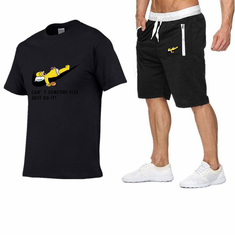 Image 2 - 2019 Men Fashion Summer Brand t shirt 100%cotton Sporting tops TrackSuit suit tees+casual shorts two Pieces Set mens clothing-in Men's Sets from Men's Clothing