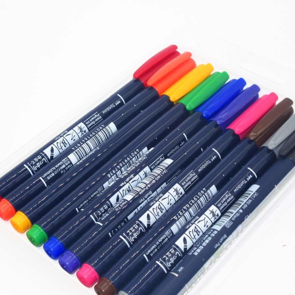 Tombow marcadores tinta pigmentada a base de agua caligrafía plumas para caligrafía pincel rotulador bolígrafos Fudenosuke Set Japón