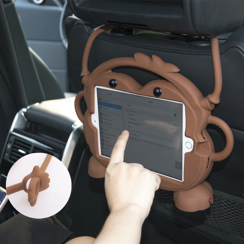 Car Back Seat Tablet Case Stand for iPad mini 1 2 3 4, Headrest Mount Holder Silicone Cartoon Cover for Kids Children Home Bed