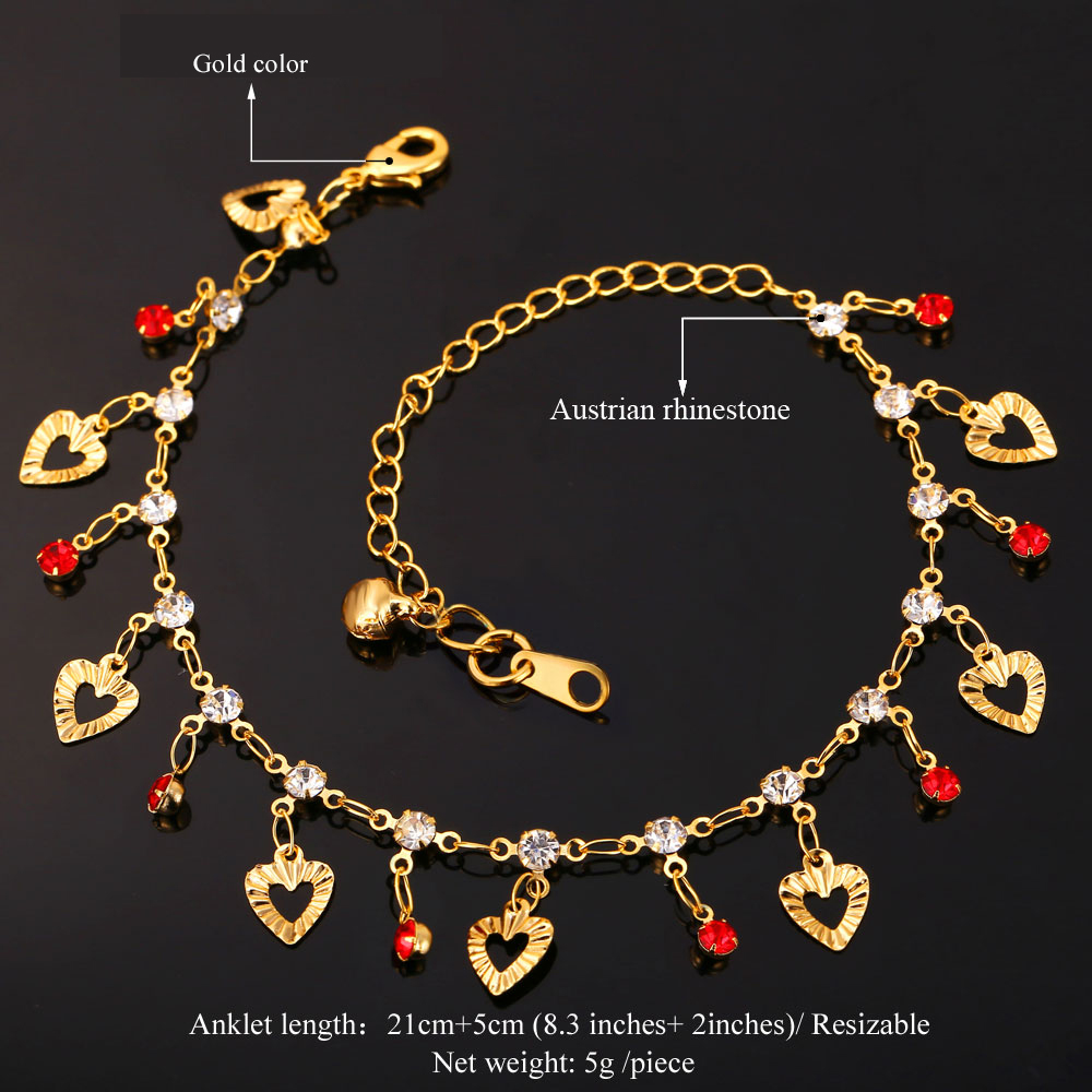 U7 Trendy Heart Anklet Summer Jewelry Gift Red Crystal Gold Color Ankle Foot Chain Bracelet For Women A301 3