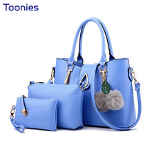 Sac a main Femme New Sweet Lady Handbags 3 Pieces Set Women Leather Shoulder Bags Messenger