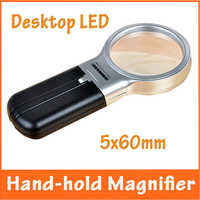3x60mm Illuminated Repair Tool Desktop Adjustable Light Magnifier with 2 LED Lamps Hand-hold Loupe Magnifying Glass for Reading