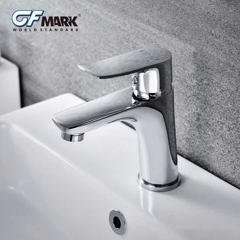 GFmark Brass Basin Faucets For Bathroom Sink Deck Mounted Wash Basin Taps Robinet Cold And Hot Water Mixer Chrome Faucet sognare chrome bathroom basin sink faucet cold and hot water taps bathroom vanity sink mixer brass deck mounted basin faucets