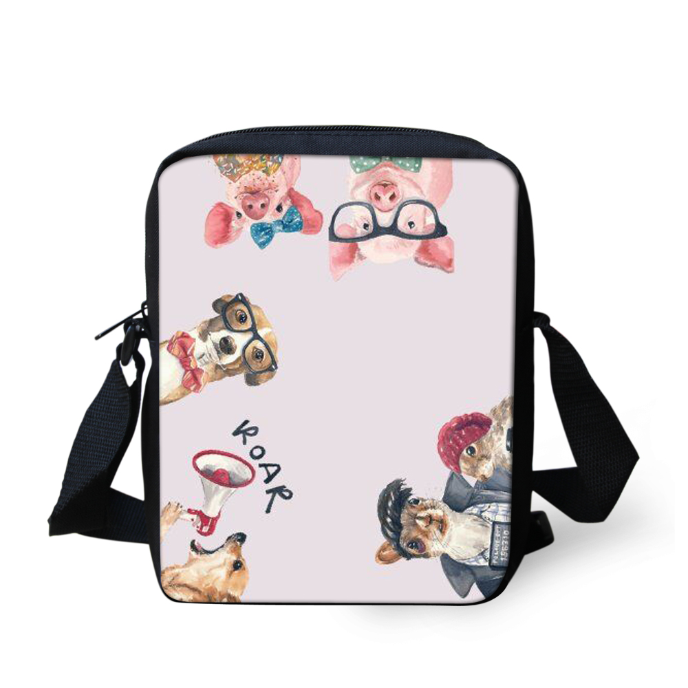 FORUDESIGNS Cute Animal Printing Crossbody bag Girls Boys School Bags Kids Book Bag For Snacks Lunch Best Gift Mochila Escolar