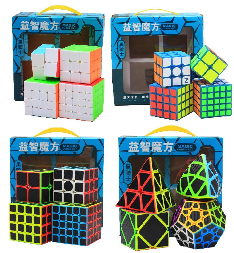Zcube Set 4pcs/box Carbon Fiber Neo Cube Pyraminx/Dodecahedron/2x2/3x3 /4x4/5x5 /Skew Cube Speed Puzzle Toy Gift 8pcs set shengshou s magic cubes 3 3 2 2 2x2 3x3 skew sq1 megaminx mastermorphix triangle pyraminx mirror rubix rubic cube