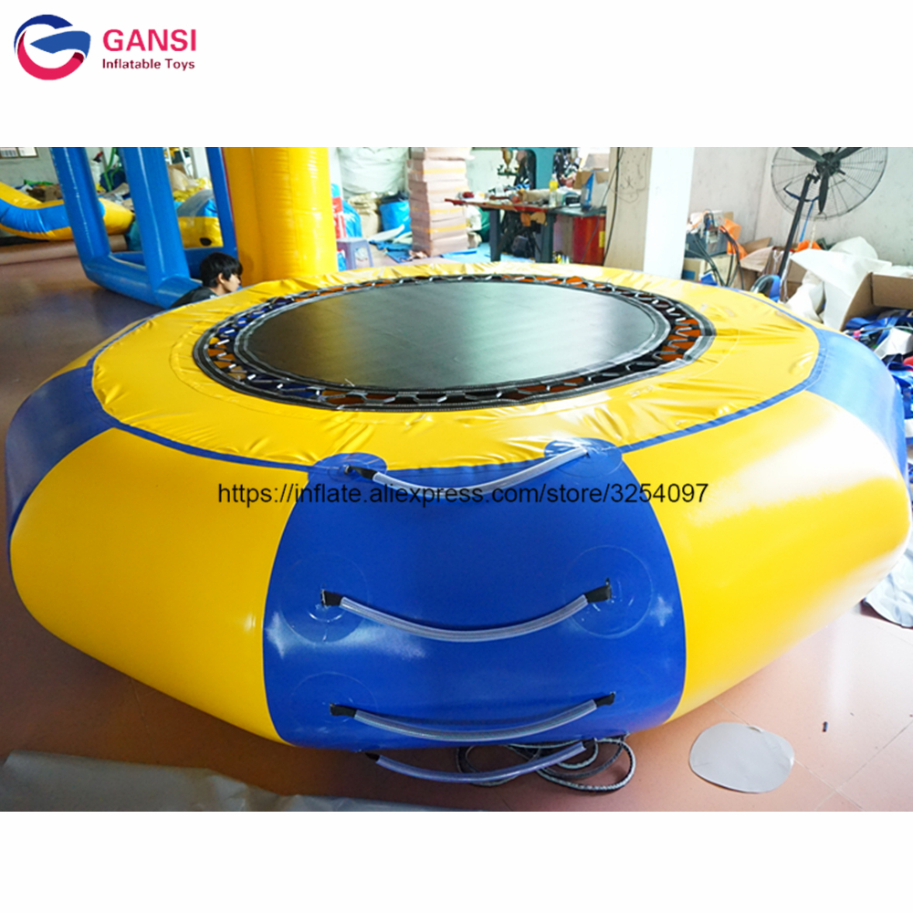 Diameter 3m Inflatable amusement park ride jumping trampoline,aqua park inflatable water trampoline rental for summer free shipping 6 2m 0 9mm pvc inflatable trampoline water pillo water blob jump inflatable jumping jump bed on water
