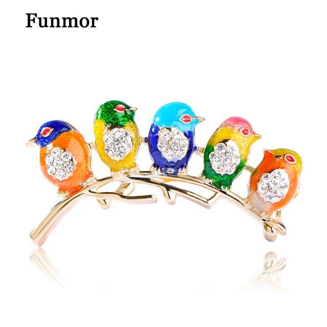 Colorful Enamel Five Birds Brooch With Crystal Rhinestones Collar Clip Dress Coa
