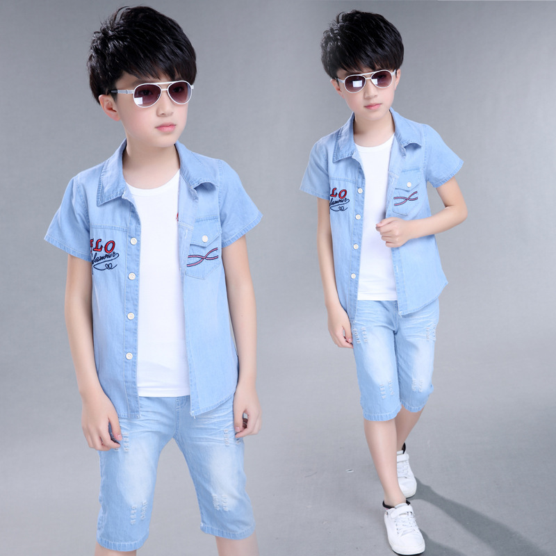 цена  Children boys clothing short sleeve denim jeans two pieces sets shirt and shorts set Costume for boys 5 6 8 10 11 12 year old 63  онлайн в 2017 году