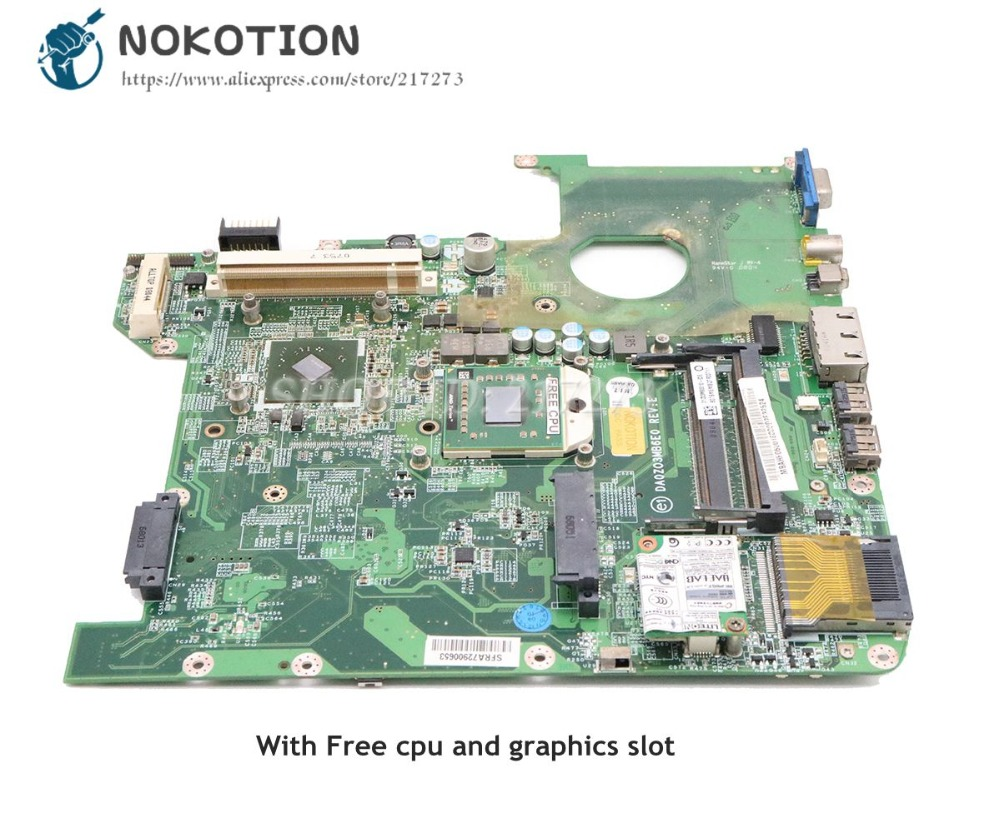 NOKOTION For Acer aspire 4520 Laptop Motherboard MCP67MV-A2 with graphics slot DDR2 MBAHF06001 DA0ZO3MB6E0