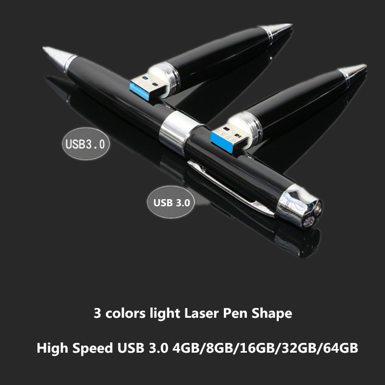 3 colors light Laser Pen Shape USB 3.0 Flash Drive 4gb 8gb 16gb 32gb 64gb Usb disk USB pen drive Memory Stick pendrive U Disk