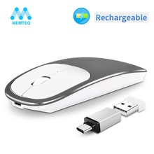MEMTEQ Rechargeable USB Wireless Mouse Metal 2.4G Noiseless Slient Button Optical with Receiver for PC Laptop Mute