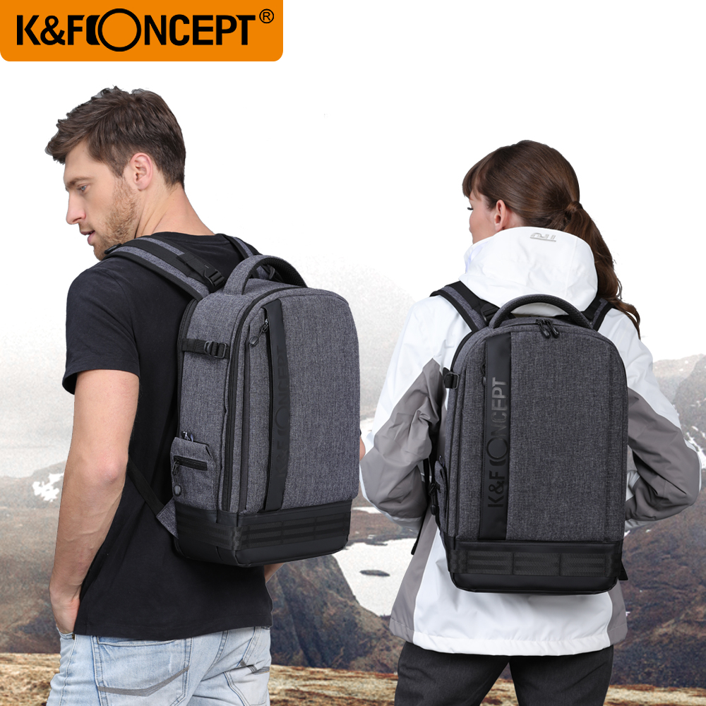 K F CONCEPT Camera Backpack Waterproof Universal Travel Bag Padded High Capacity Hold Tripod Straps for