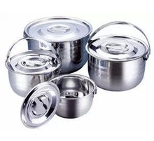 free shipping camping pots 4pots set Stainless steel cooking pot portable  Cookware tableware cookware 1-6litre