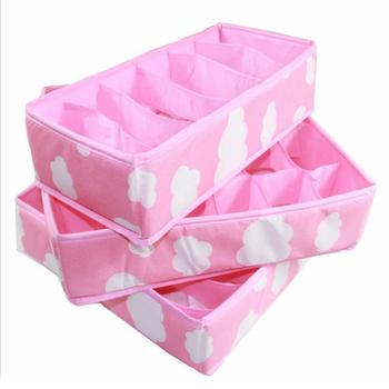 3Pcs Pink Foldable Compartment Storage Box Dustproof Underwear Necktie Sock Briefs Organizer Home Closet Box Storage Case