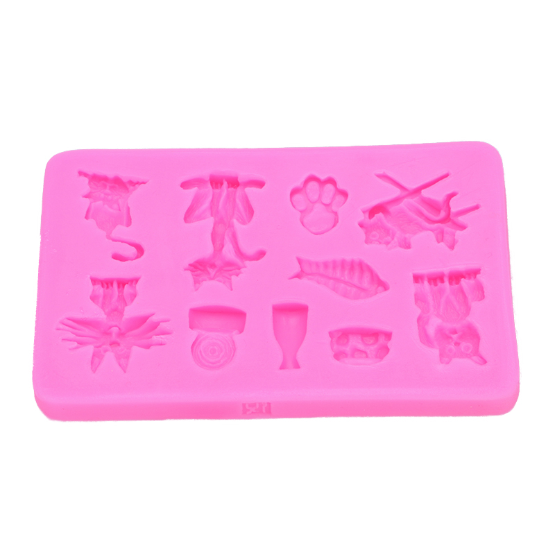 Halloween 3D Cat Shape Fondant cake silicone mould Kitchen for Gum paste Chocolate Trim molding removal tool set FT-0516