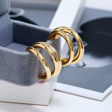 L&H Unisex Creative Three-layer Circle Earrings Trendy Punk Silver/Gold Color Vintage Bohemia Earings Fashion Jewelry