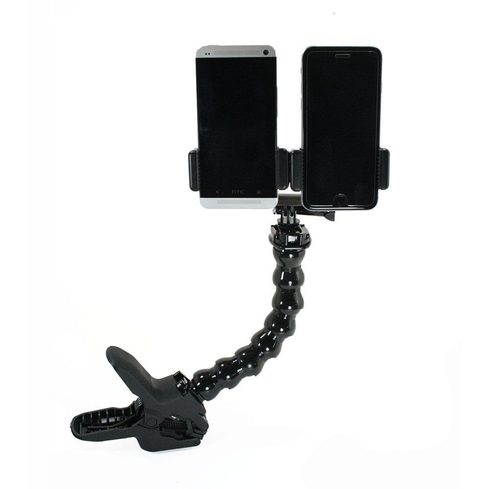 Dual Device Desk Clamp Setup for smartphone camera flash, Video Recording, Etc. image