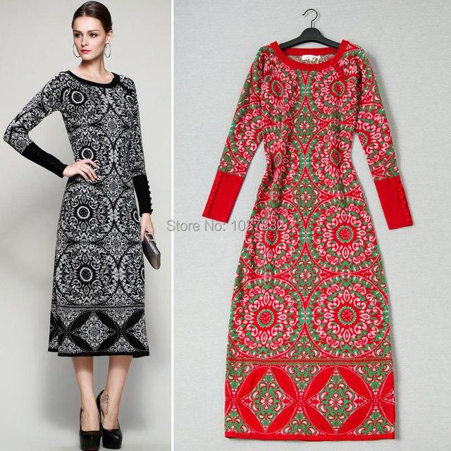 newest 39eea 9d9bb US $57.67 12% di SCONTO|2017 new spring Boutique vestito di maglia Vintage  moda donna Maglieria Casual Vestito Lungo S inverno splendida O Collo ...