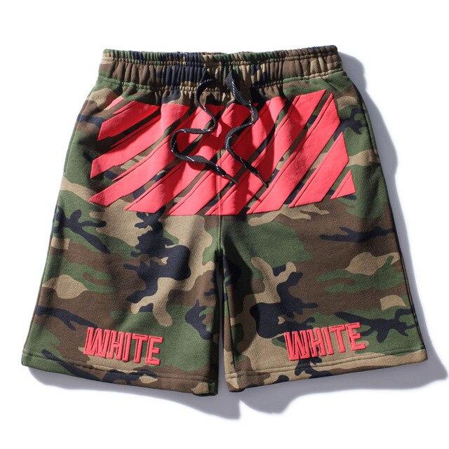 OFF WHITE Camo Fashion Shorts 2017 Newest Compression mens summer shorts short masculino praia Hip Pop Brand jogger shorts
