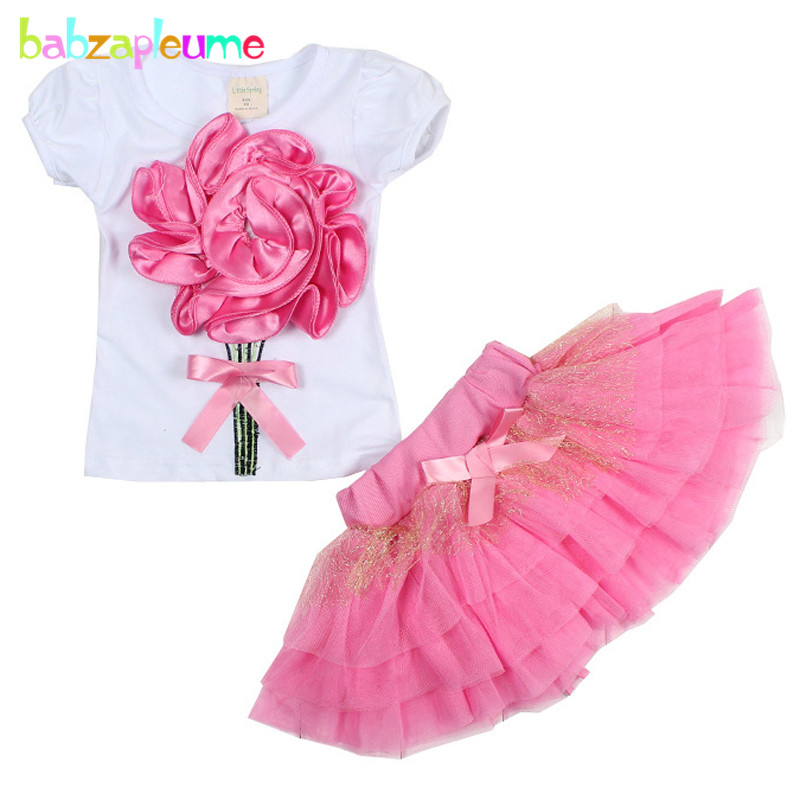 2016 Summer Baby Girls Clothing Sets Boutique Brand Flower Short Sleeve T-shirt+Skirt 2pcs Kids Lace tutu Clothes 2-5Year BC1257