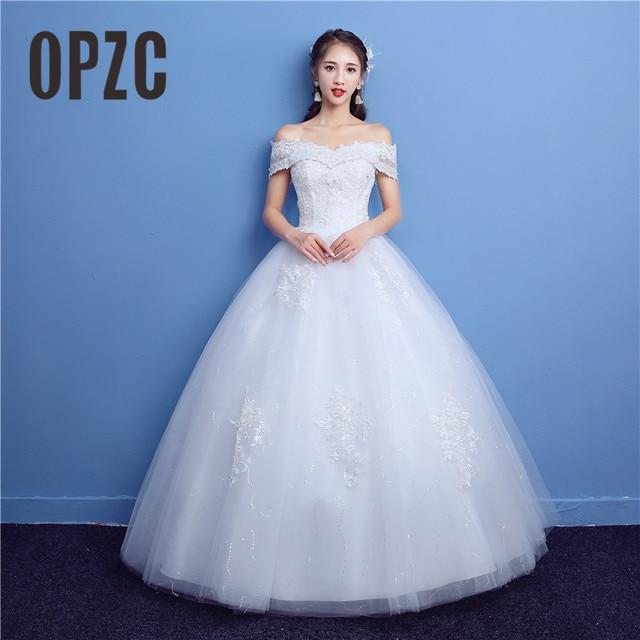 Simple Wedding Dresses Boat Neck: Lace Embroidery Vestido De Noiva Boat Neck Princess Simple