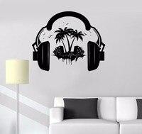מוסיקה משלוח חינם אופנה ויניל מדבקות קיר מדבקה חדש אוזניות קול מוסיקה דקור מדבקות קיר קיר חדר Teen