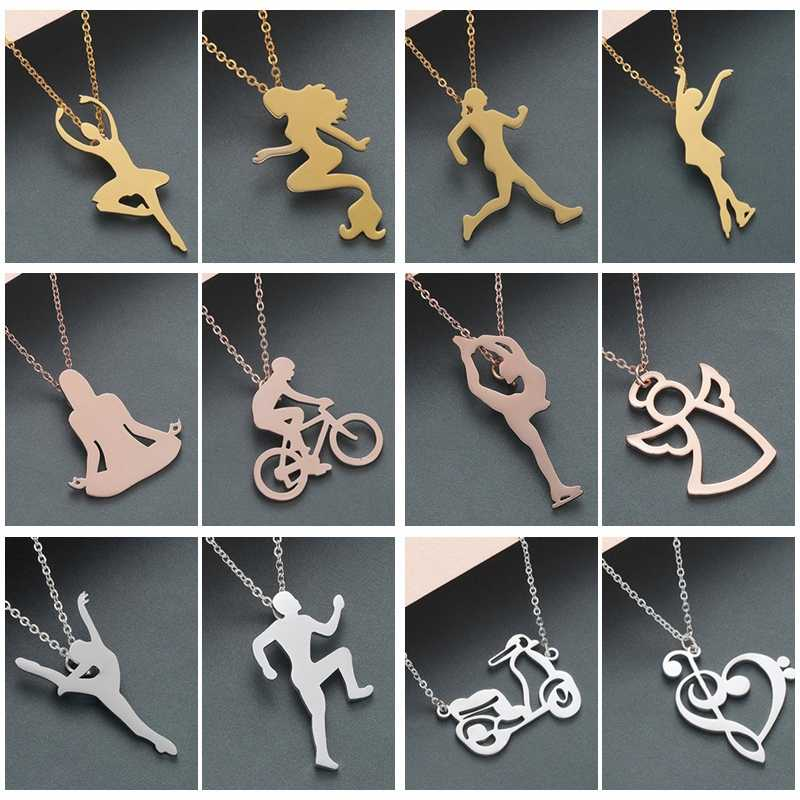 QIMING Mermaid Pendant Necklace Women Dance Ballet Fitness Angle Skate Stainless Steel Jewelry Figure Yoga Fashion Necklace Gift