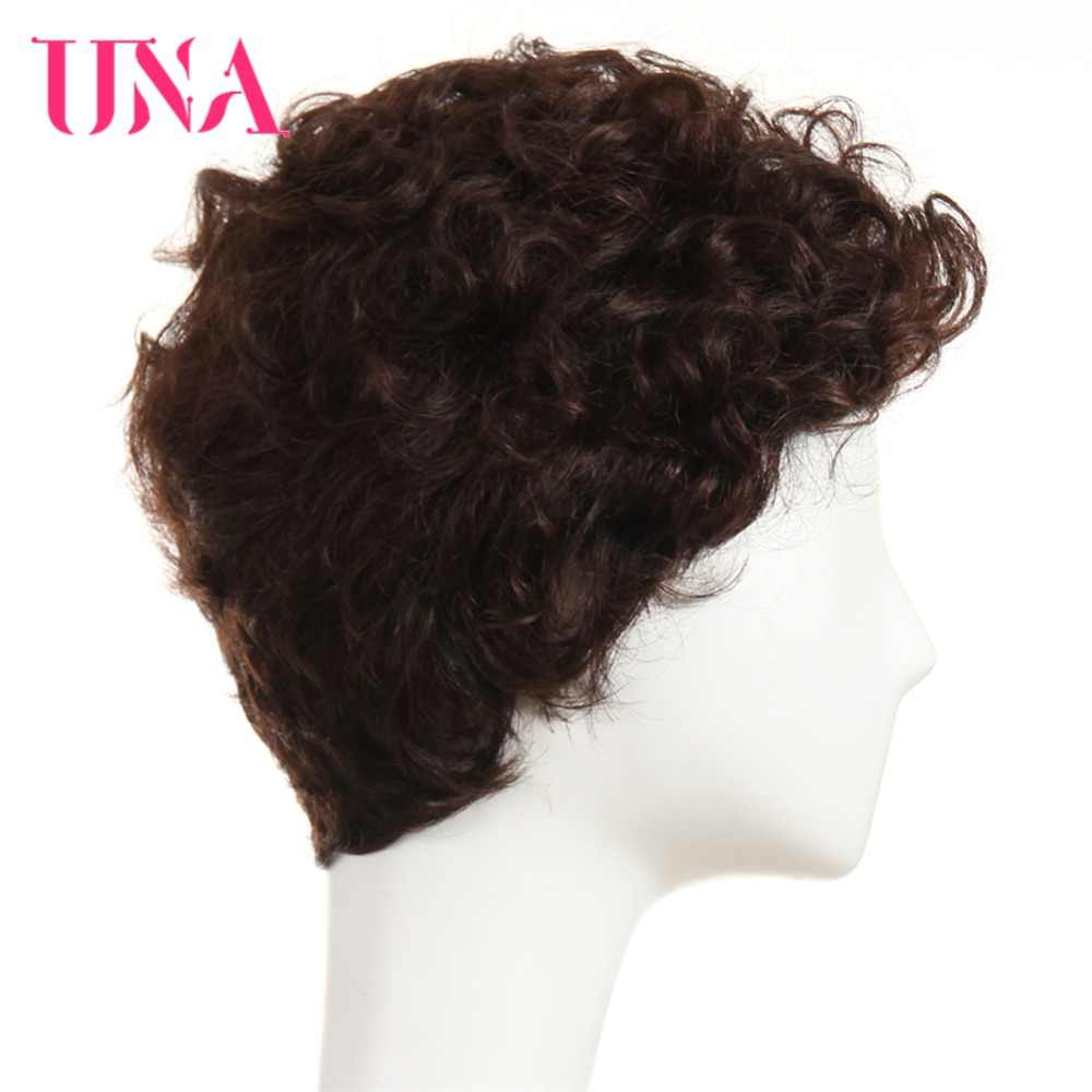 "UNA Water Wave Indian Human Hair Wigs Non-Remy Hair  6"" 120% Density Color  #1 #1B #2 #4 #27 #30 #33 #99J #BUG #350 #2/33"