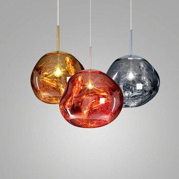 Post Moderen Kaca Liontin Ringan Melting Lava Lampu Liontin Kaca Emas Tembaga Perak Dekoratif Jatuh Lights Restoran Pencahayaan