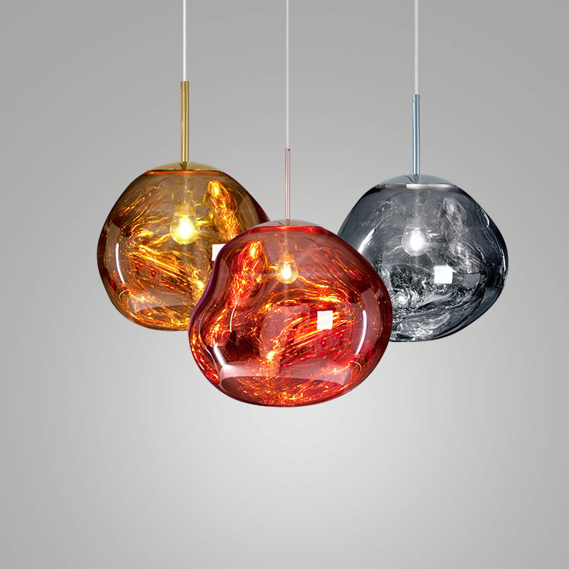 Post Modern Glass Pendant Light Melting Lava Glass Pendant Lamp Gold Copper Silver Decorative Drop Lights Restaurant Lighting