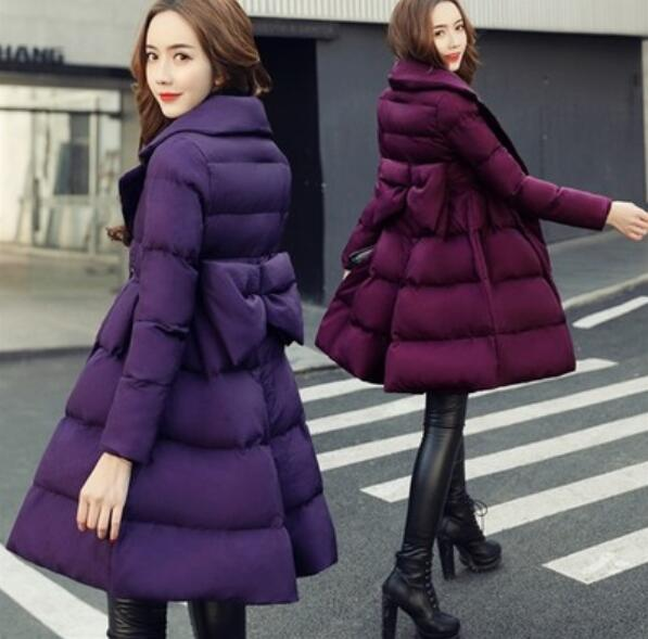 2018 winter Maternity warm coat Big bowknot long womens cotton padded jacket Pregnant Women parkas womens wadded down jacket