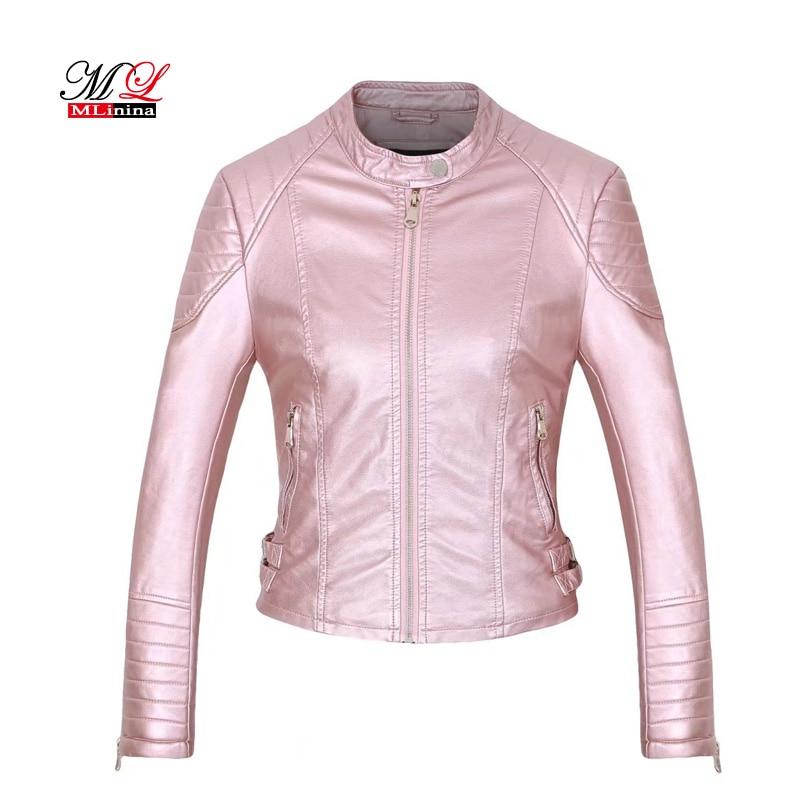 MLinina   Leather   Jacket Women Winter Pu Casual Zipper Motorcycle Jackets Autumn Soft   Leather   Basic Coat Black Outwear Female