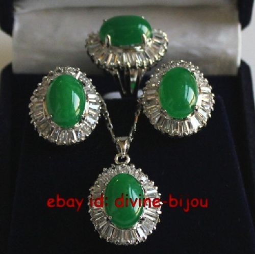 Hot sell green jadeite crystal ladys earrings pendant necklace ring set 8# Jewelry jade crystal zirconHot sell green jadeite crystal ladys earrings pendant necklace ring set 8# Jewelry jade crystal zircon