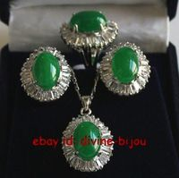 Hot sell green jadeite crystal lady's earrings pendant necklace ring set 8# Jewelry jade crystal zircon