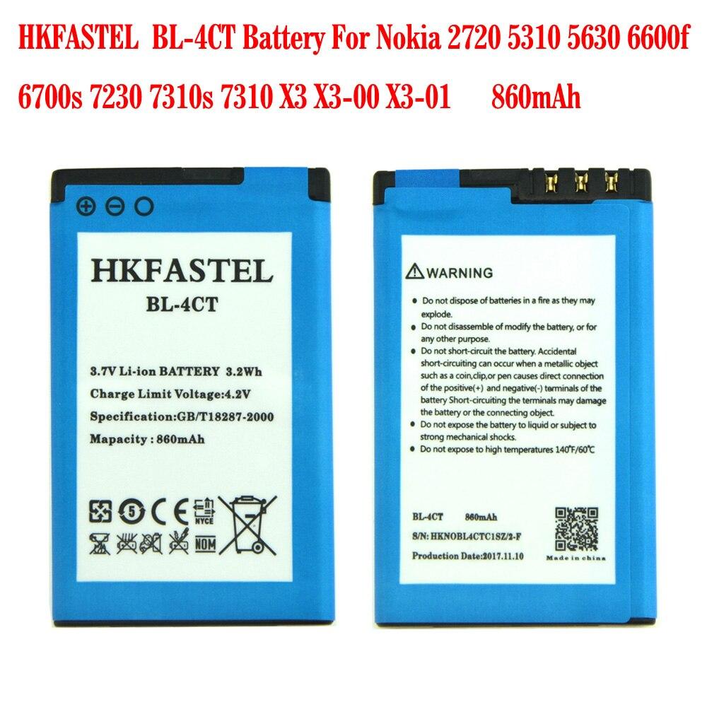 Hkfastel novo BL-4CT bl4ct li-ion bateria do telefone móvel para nokia 2720 5310 5630 6600f 6700s 7230 7310s 7310x3 X3-00 X3-01 860 mah
