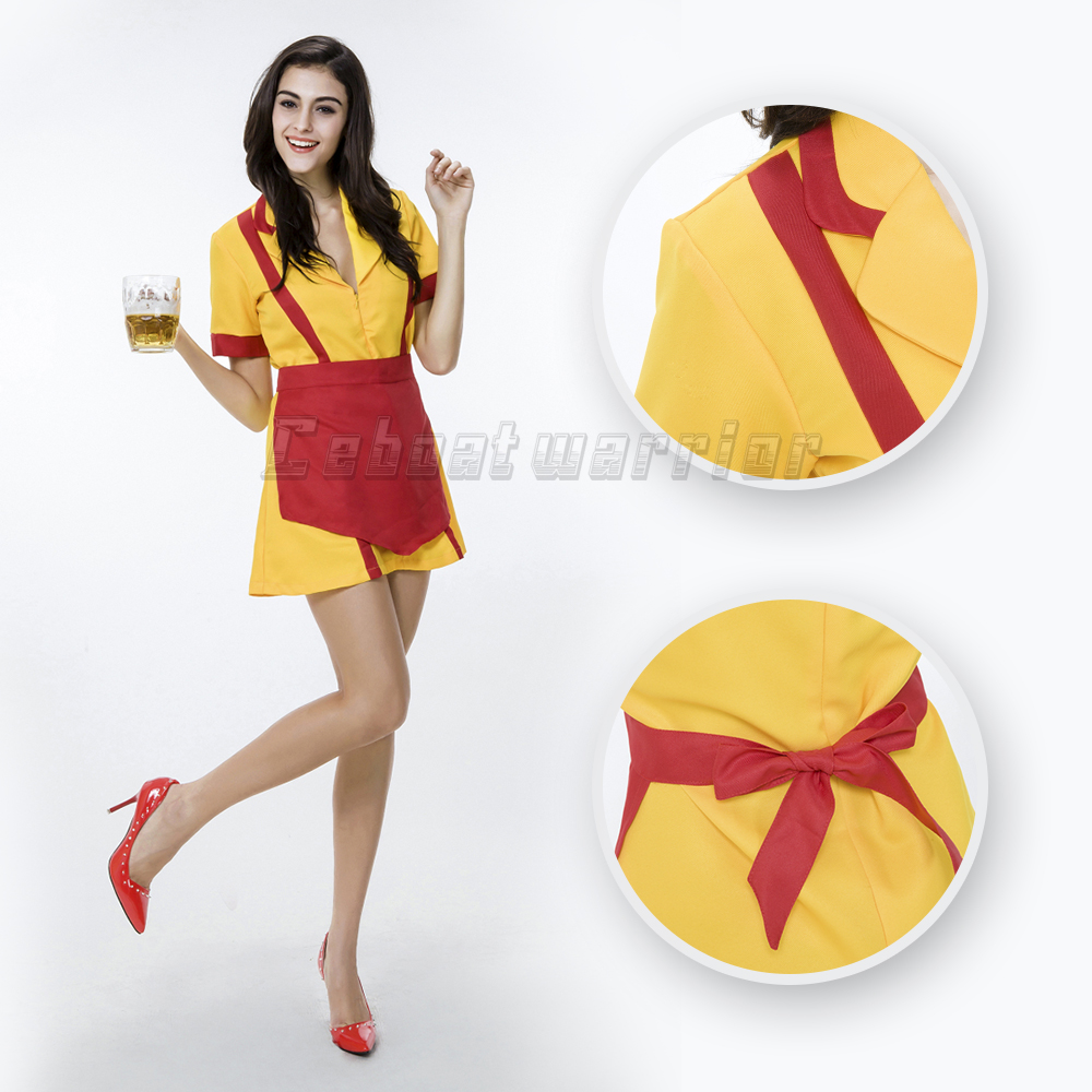 2 Broke Girls TV seriesMax or Caroline cosplay costumes clothing  (dress+pinafore/apron) Snack bar overall