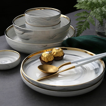 Ceramic Plate Soup Bowl with Golden Rim 7 8 9 Inch Home Dish Tableware European Style Design
