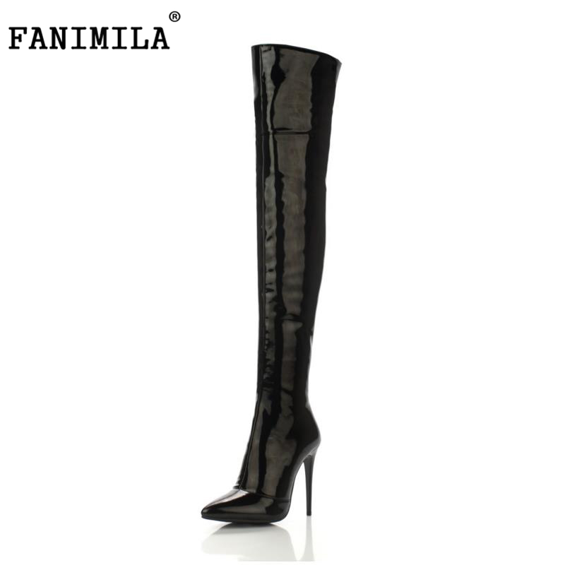 FANIMILA Size 33-43 Botines Winter Boots Women Shoes Over Knee High Thigh Boots High Heel Suede Boots Botas Mujer Femininas choudory botines mujer black thigh high boots square heel round toe zip over knee high boots fashion motorcycle booties women