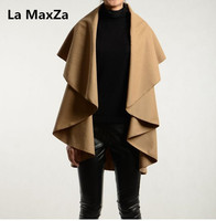 La MaxZa women wool poncho vest long outerwear coat vogue ladies cape chaquetas para mujer spring autumn veste femme red colete