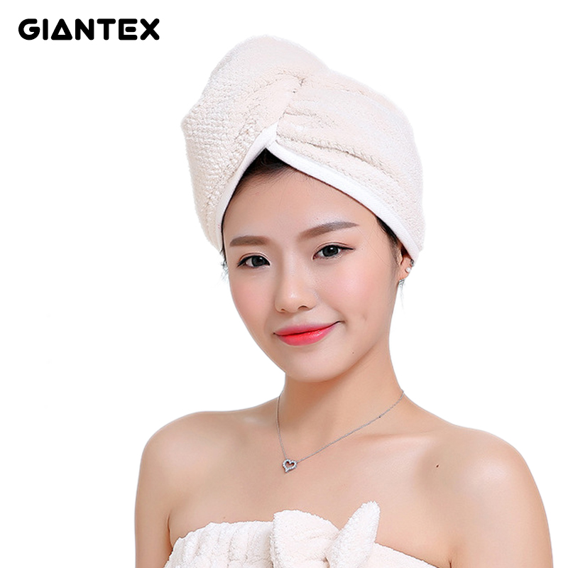 GIANTEX Japanese Polyester Cotton Women Bathroom Super Absorbent Quick drying Bath Towel Hair Dry Cap Salon Towel 23x60cm U1031