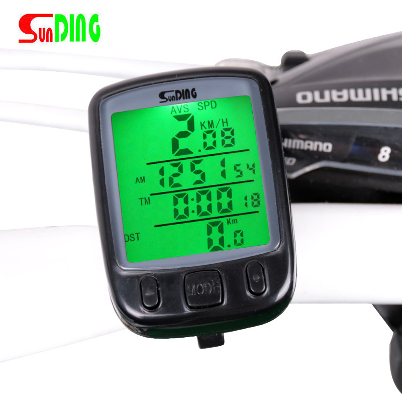 Bicycle Speedometer Wired Computer Stopwatch Water Proof Odometer LCD Screen Backlight Auto Clear Sunding SD-563A