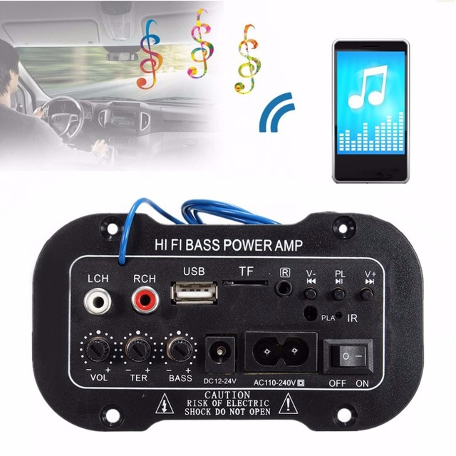Special Price 220V Car Bluetooth Amplifier Hi-Fi Bass Power Amplifier Board for Auto Cars Audio TF Player USB Small Distortion Subwoofer
