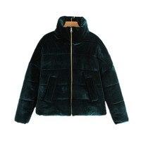 Women Velvet Padded Jacket Oversized Warm Winter Coat Long Sleeve Zipper High Neck Outerwear Female Casual Loose Short Coat