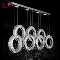 New Modern Dining Room LED Crystal Chandelier 7 Rings Hang Lustres De Cristal Bar Coffee Lighting