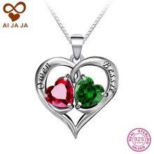 AIJAJA Grabado Colgantes de Los Collares de Plata de Ley 925 Piedras de Nacimiento Nombre Personalizado Grabado Femme Bijoux Joyería Del Corazón