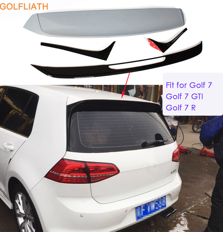GOLFLIATH Rear Roof Spoiler Wing Lip Fit For VW Golf 7 MK7 & GTI & R UNPAINTED 2014 2016