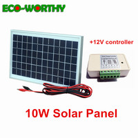 ECOworthy solar complete kit: 10W Poly Solar power Panel & 3A 12V/24V Solar charger Controller & 2m cables for 12V battery home